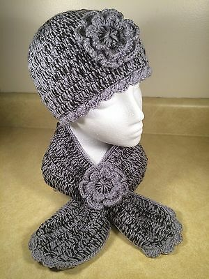 Women Teen's hand crocheted beanie hat and scarf - one flower hat and scarf set