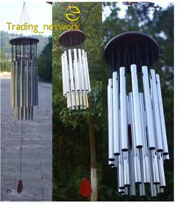 Wind Chimes Bell Hanging Decorations Outdoor Bells 27 Tubes Silver Metal