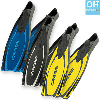 Cressi Reaction Pro Fins Yellow Blue Black Snorkelling Swimming Diving