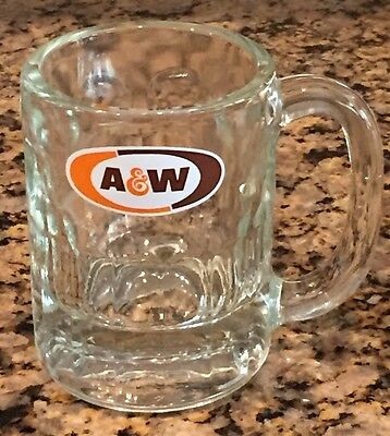 """Vintage A & W Root Beer Mug Heavy Glass  with Thumbprint Design 4 1/2 """" Tall **"""
