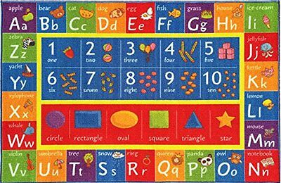 Kev & Cooper Playtime Collection ABC, Numbers and Shapes Educational Area Rug -