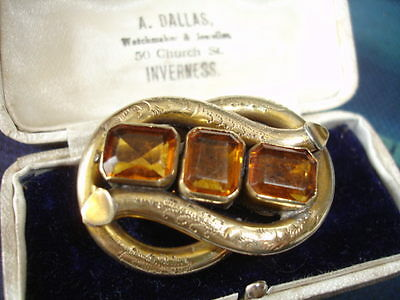Antique Victorian amber glass three stone engraved pinchbeck scroll brooch pin