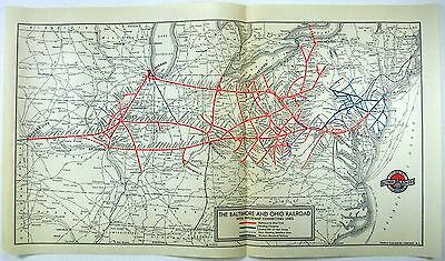 Original 1938 Baltimore and Ohio Railroad System Map