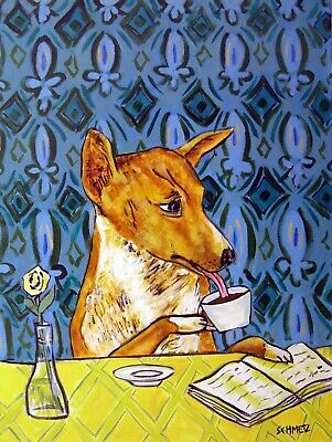 BASENJI dog COFFEE 8x10 signed art PRINT from painting gift impressionism