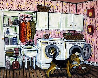 AIREDALE TERRIER doing laundry picture animal dog art print giclee11x14