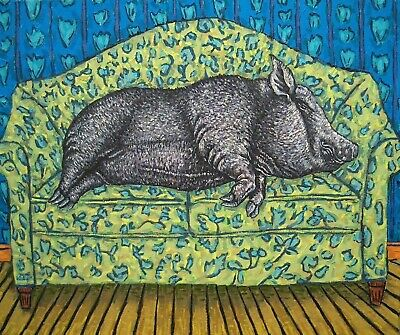 RECLINING NUDE POT BELLY PIG art  poster 4x6  GLOSSY PRINT