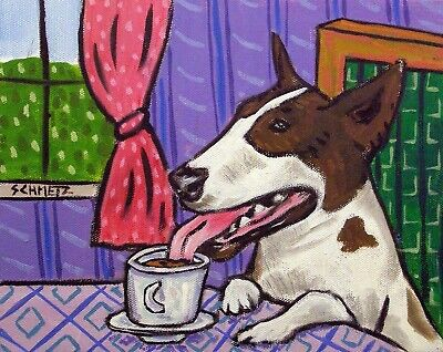 Bull terrier coffee signed art PRINT reproduction of painting 11x17 glossy gift