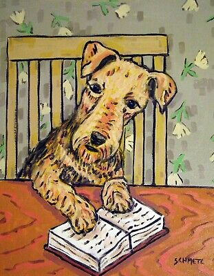 airedale terrier reading a book signed art PRINT 11x17 glossy photo PRINT gift