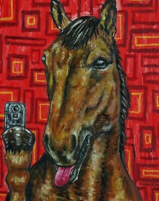 horse selfie Signed dog art PRINT 11x17 animals fauvism glossy impressionism