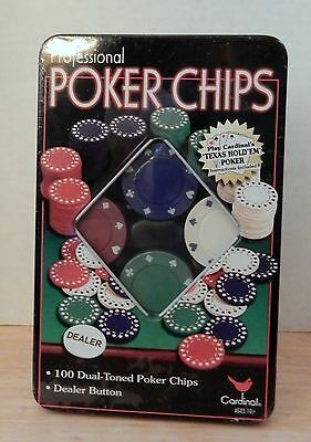 NIIP Cardinal Professional Poker Chips 100 Dual-Toned Chips & Dealer Button