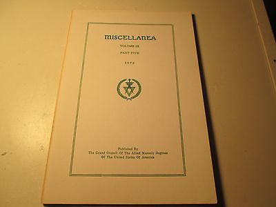 Miscellanea Voulme IX Part Five Masonic Handbook Freemasonry Masons