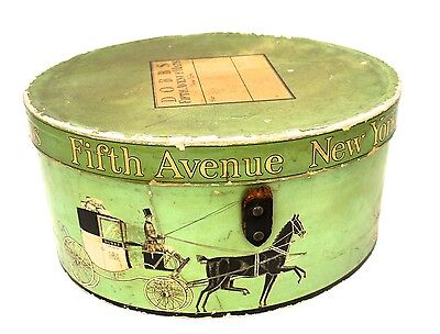 Rare Dobbs Fifth Avenue Hat Box Mens  Leather Strap Green Hard Sided 1940s