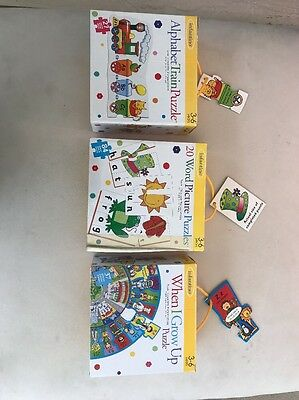 Lot Of 3 Infantino Puzzles 3-6 Years Alphabet Train When I Grow Up Word Pictures
