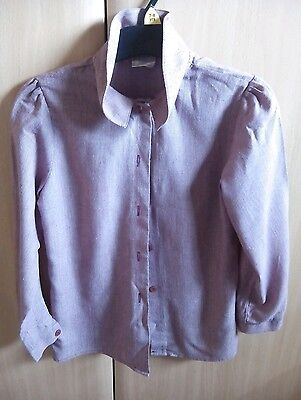 Child's vintage blouse shirt age 5/6 red burgundy