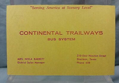 Vintage Advertising Pocket Wallet Calendar Card: 1956 CONTINENTAL TRAILWAYS