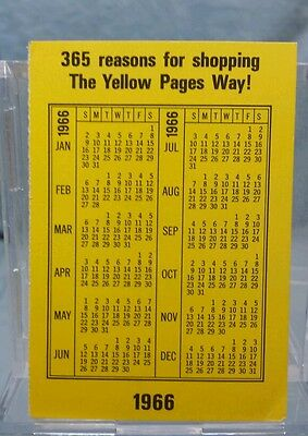 Vintage Advertising Pocket Wallet Calendar Card: 1966 1967 BELL YELLOW PAGES