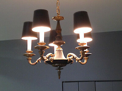 Vintage / Antique Five Arm French Empire Neoclassical Chandelier with Shades
