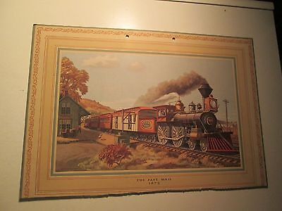 Vintage Railroad Print Signed Y.E. Soderberg The Fast Mail  NYC RR Palmyra