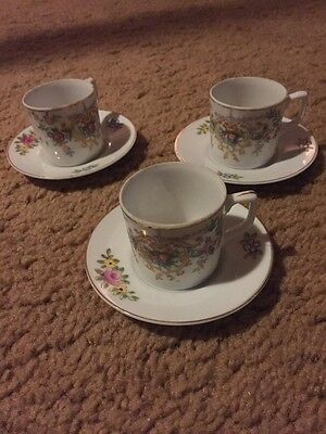 Set of 3 Small Porcelain Cups and Saucers - Made in Occupied Japan