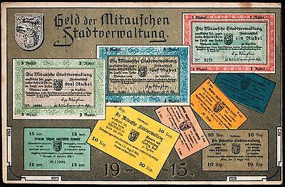 MITAU 1915 Postcard Advertisement Rubel-Denominated Notgeld WWI Jelgava Latvia