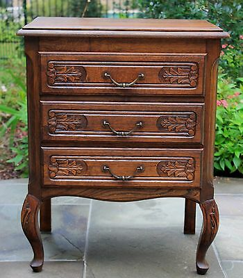 Antique French Country Oak Louis XV Style 3-Drawer Chest Nightstand End Table