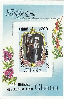 (95050) Ghana MNH IMPERFORATE OVERPRINT Queen Mother 90th Birthday 1990 u/m mint