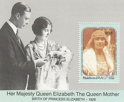 (95053) Maldives MNH Queen Mother 90th Birthday MS 1990 unmounted mint