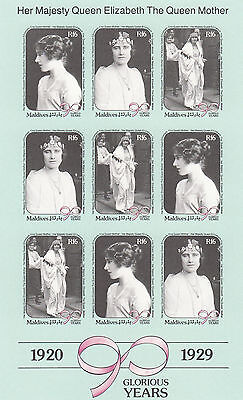 (95055) Maldives MNH IMPERFORATE Queen Mother 90th Birthday MS 1990 u/m mint