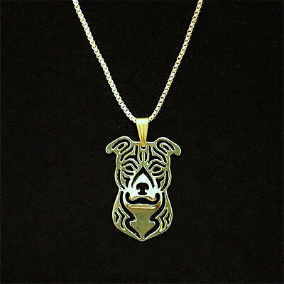 Pit Bull Dog Pendant Necklace Gold Plated ANIMAL RESCUE DONATION