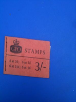 Vintage GPO Stamp Booklet; 3/- (3 Shillings) Used but still has 2 Unused Stamps.