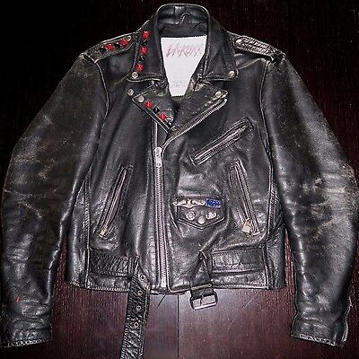 L.A. ROXX Vintage Punk Biker Motorcycle Leather Jacket UNISEX Sz S/M RARE!! WoW!