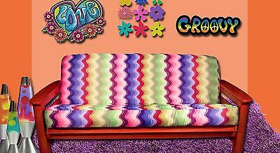 New Groovy Wavy Pattern Futon Cover Full Size Multicolor Waves