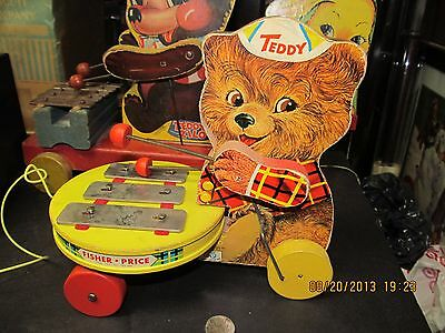 Fisher Price Teddy Zilo #734 All Wood 1964 Excellent Condition And Works