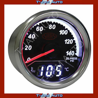 SAAS Dual Gauge 2IN1Oil Pressure / Water Temp 52mm Gauge NEW