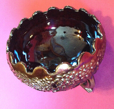 Fenton Amethyst Footed Rose Bowl With Iridescent Bronze Finish
