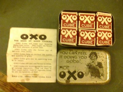 VINTAGE OXO TIN SMALL WITH 6 OXO CUBE BOXES INSIDE + good cooking leaflet