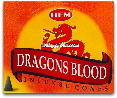 "Hem ""dragons Blood"" Dhoop Incense Cones (12 Packets Box)"