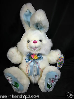 "22"" Dan Dee Plush Easter Bunny Rabbit Dandee White Embroidered feet Sitting"