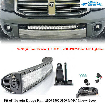 32Inch Curved Offroad LED Light Bar Driving Lamp Jeep Ford Super Duty Toyota 4WD