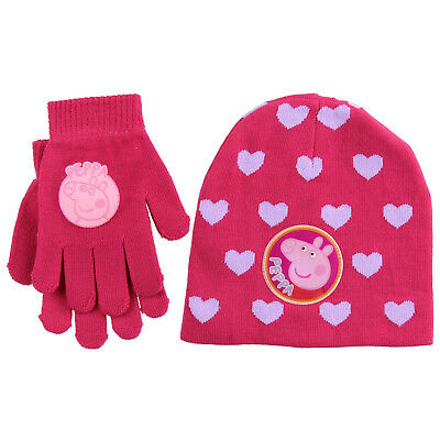 Official Peppa Pig Kids Girls One Size Knitted Beanie Hat & Glove Set Xmas Gift