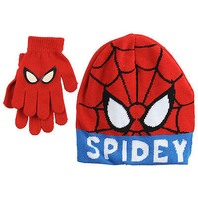 Official Disney Spiderman Kids Boys One Size Knitted Hat & Glove Set Xmas Gift