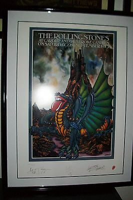 Rolling Stones Cardiff Castle Sept.22nd 1973 Lithograph framed poster