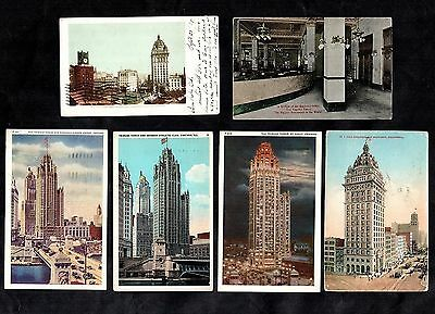 6 American Skyscrapers Vintage Postcards 1916 - 1945 Towers Chicago Francisco