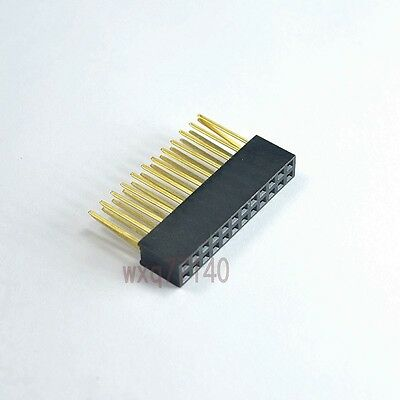 10pcs 2.54mm 2x12 24pin Double Row Female stackable Straight Header socket Strip
