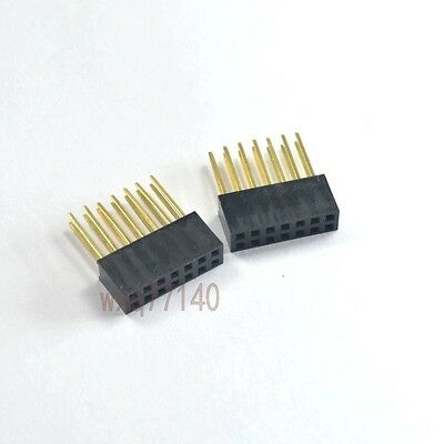 10pcs 2.54mm 2x7 14 pin Double Row Female stackable Straight Header socket Strip
