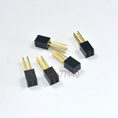 10pcs 2.54mm 2x2 4 pin Double Row Female stackable Straight Header socket Strip