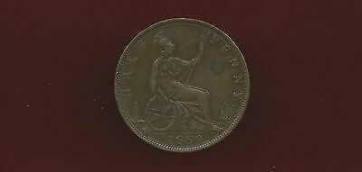 Great Britain Uk 1889  1/2 Penny Coin