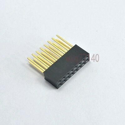 10pcs 2.54mm 2x8 16 pin Double Row Female stackable Straight Header socket Strip