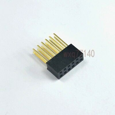 10pcs 2.54mm 2x6 12 pin Double Row Female stackable Straight Header socket Strip