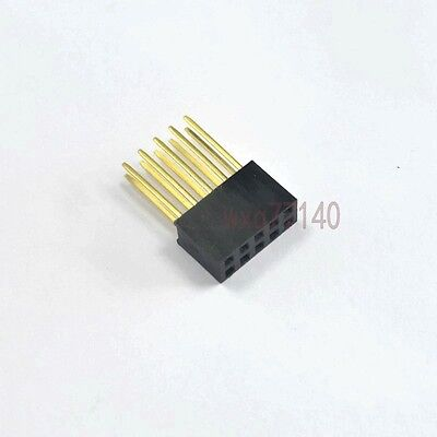 10pcs 2.54mm 2x5 10 pin Double Row Female stackable Straight Header socket Strip